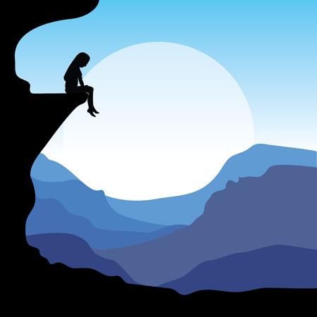 ashamed: Sitting on a cliff,  illustrations