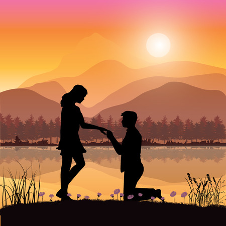propose: Propose marriage a river, Vector illustrations