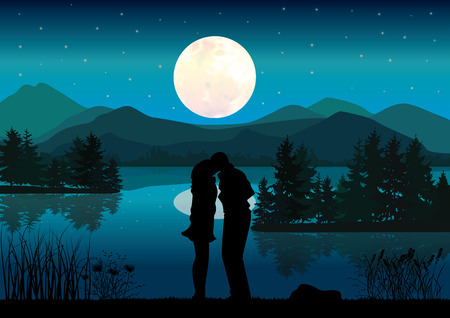 river vector: Propose marriage a river, Vector illustrations