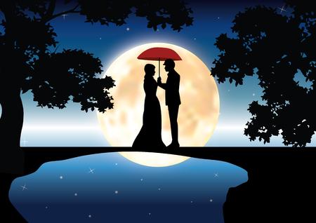 romance: Romance under moonlight, Vector illustrations Illustration