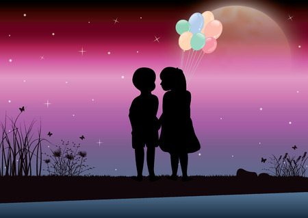 looked: The girl and boy looked beautiful moonlight. Vector illustrations