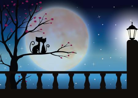 ベクトル イラスト、美しい満月を見て猫カップル。  イラスト・ベクター素材
