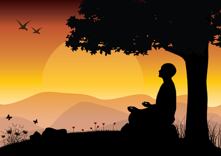 mind body soul: Man meditating in sitting yoga position on the top of a mountains above clouds at sunset. Zen, meditation, peace, Vector illustrations