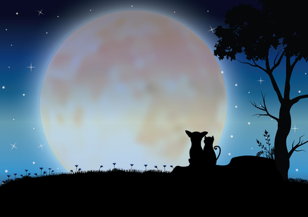 Vector illustrations . dog and cat Romantic Illustration