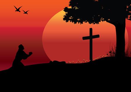 arrepentimiento: Las alusiones a Jesús, ilustraciones vectoriales Vectores