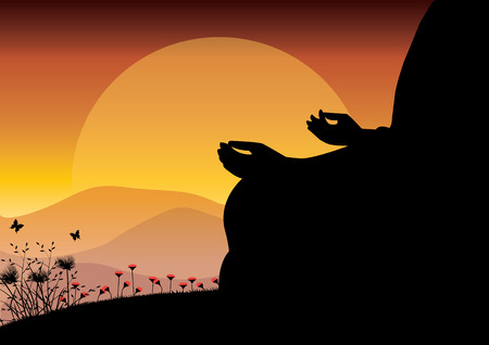 Man meditating in sitting yoga position on the top of a mountains above clouds at sunset. Zen, meditation, peace, Vector illustrations