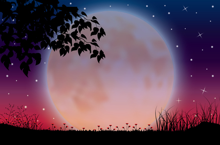 La belleza de la luna en la naturaleza, ilustraciones vectoriales paisaje Ilustración de vector