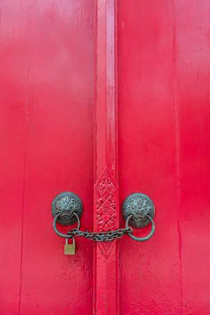 lock and chain: locked door Stock Photo