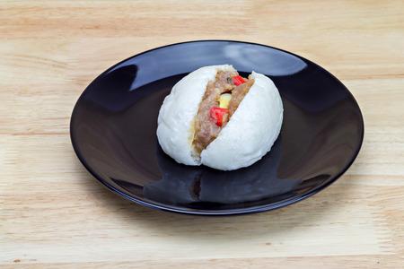 quail egg: Chinese steamed bun with crab stick, quail egg and pork stuff