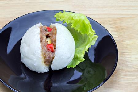quail egg: Chinese steamed bun with crab stick quail egg and pork stuff Stock Photo