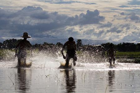 farm duties: Boys running race silhouette on a swamp