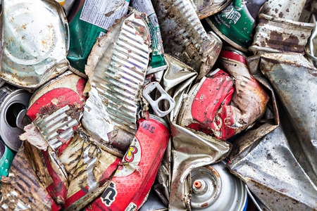 utilization: Chiang mai, Thailand - July 18, 2015 : Close up compressed aluminum cans for recycle Editorial