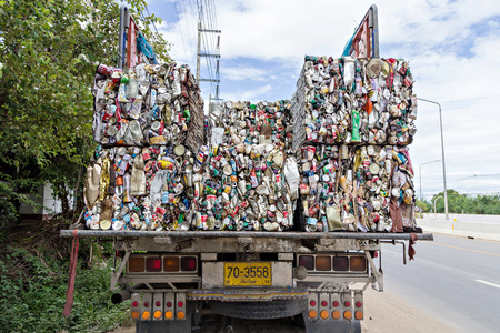 Chiang mai, Thailand - July 18, 2015 : Close up compressed aluminum cans for recycle Editorial