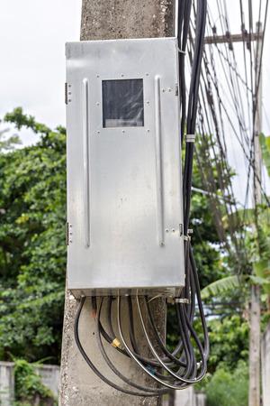 breaker: Main circuit box breaker on electricity post (junction box)