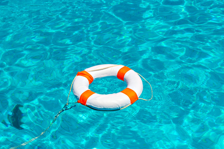 swimming to float: Life buoy in swimming pool