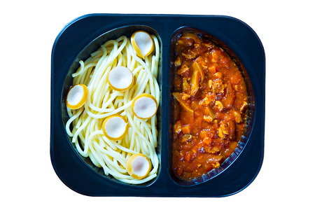 simple store: Spaghetti with red tomato sauce in a plastic box