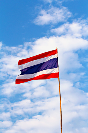 nation: Thai nation flag on wooden pole
