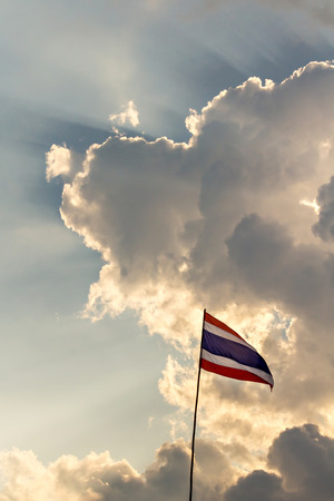 nation: Thai nation flag on wooden pole
