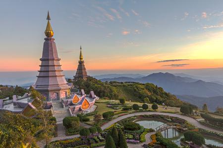 phon: Landscape of two pagoda (noppha methanidon-noppha phon phum siri stupa) in an Inthanon mountain, chiang mai, Thailand Stock Photo