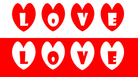 two tone: Two tone red and white love text