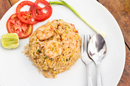 side dishes: Fried rice with shrimp and side dishes