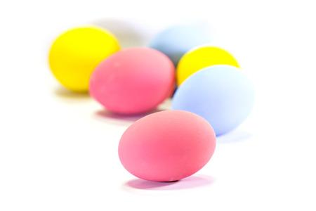christian festival: Easter eggs isolated on white background
