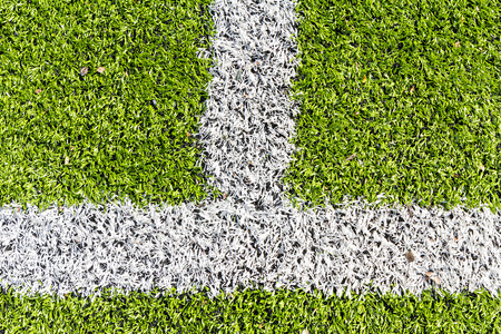 marking: Artificial turf with white marking line Stock Photo