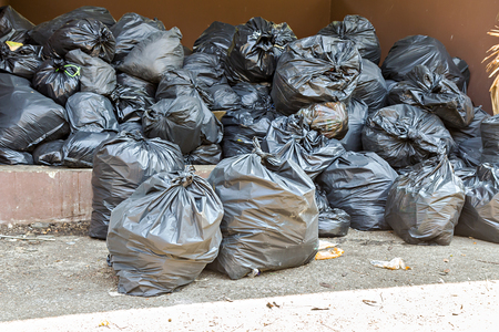 dispose: Pile of full garbage bags in a dump