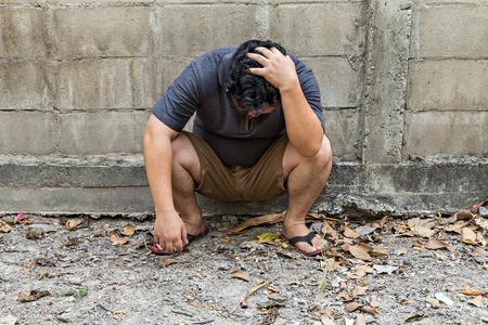Człowiek miał depresję i smutek Zdjęcie Seryjne