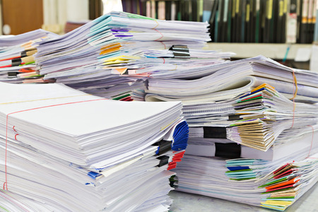 Close up of business documents stack on desk , report papers stack Stock fotó