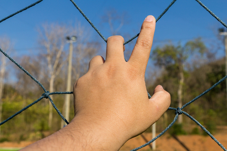 mesh fence: Hand grab the rope mesh fence Stock Photo