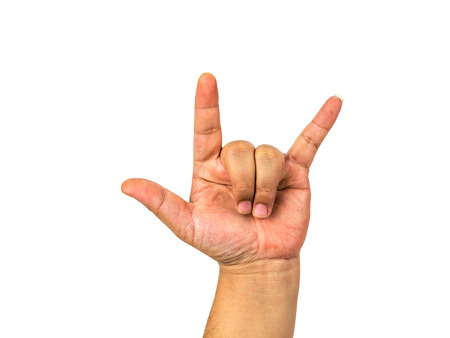 cut wrist: Hand shows the rock and roll sign or I love you sign isolated on a white background.