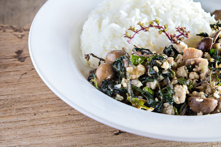 barometer: Thai food, rice topped with stir-fried minced pork and basil and barometer earthstar