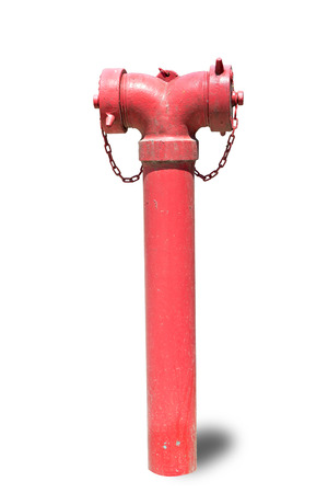 borne fontaine: Red fire hydrant isolated on white background