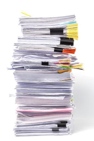 Stapel von Dokumenten auf weißem Hintergrund Standard-Bild - 64674087