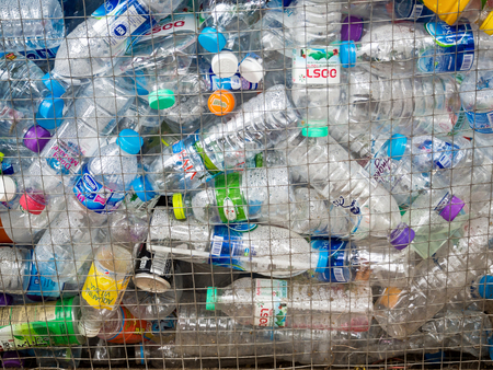 August 12, 2016 - Chiang mai, Thailand : Recyclable garbage of plastic bottles in rubbish bin