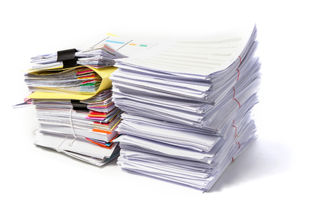 heap: Stack of Documents isolated on white background