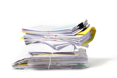 white sheet: Stack of Documents isolated on white background