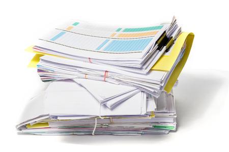Stos dokumentów na białym tle Zdjęcie Seryjne