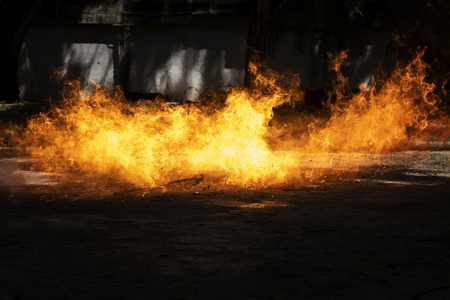 Demonstrate the pressure from the ignition of the combustible LPG gas tank to lie flat on the floor. Stock Photo