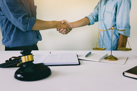 House owner shake hands with lawyer. Successful housing law plan Standard-Bild - 112676818