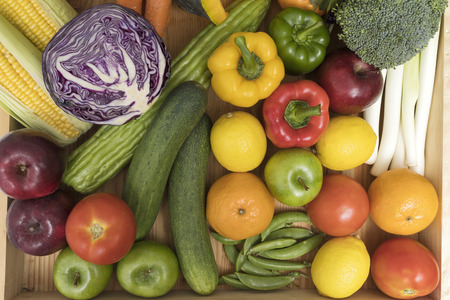Close up of assorted fruits, vegetables and herb. Standard-Bild - 112676837