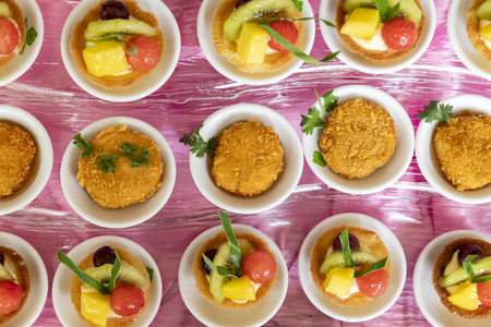 Collection of delicious dessert for party or wedding, gastronomy, event organization concept. Standard-Bild - 112676903