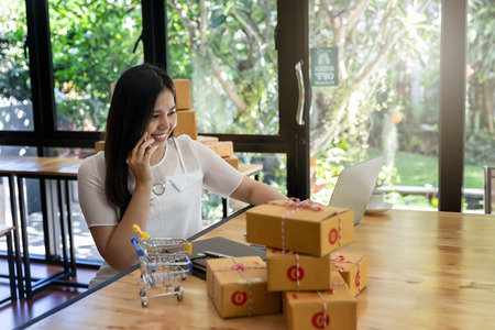 Woman are receiving orders via cell phone. Successful entrepreneur business woman with online sales and Parcel shipping in her home office. Standard-Bild - 116539898