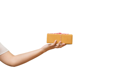 Parcel box on woman hand isolated on white background. Standard-Bild - 116524703