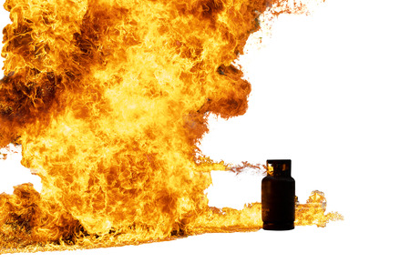 The explosion of household gas cylinders isolated on white background.