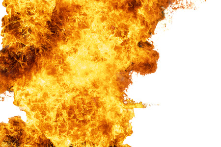 Flames caused by the explosion of the oil. Demonstration of water on oil fire isolated on white background.