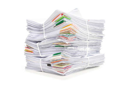 Stack of Documents isolated on white background. Documents pile. Archivio Fotografico