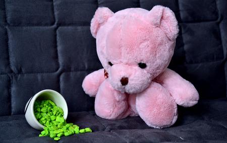 bear doll: Pink bear doll sad