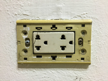 electric outlet: Old electric outlet is dangerous , do not use Stock Photo